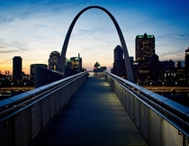 Bridge to the Arch Looking across the Mississippi River from Malcolm Martin Memorial Park St Louis MO USA