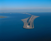 Bridge turning into a tunnel connecting Denmark and Sweden