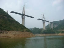 Bridge under construction along the Shennong Stream China