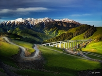 Bridges and roads through Xinjiang in northwest China  by Suchet Suwanmongkol