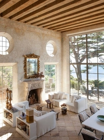 Bright amp Airy  million Mediterranean estate in Malibu w Antique Limestone Fireplace Stone Portals Reclaimed Limestone Floors and Opus Sectile Inlays