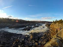 Bright and chilly afternoon at Great Falls National Park on the Potomac at the MDVA border