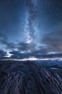 Bright Universe - An interesting rock formation on Mount Baker WA under the Milky Way Galaxy