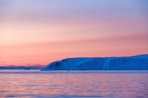 Brilliant Midnight Sunset in the Disko Bay near Ilulissat Greenland