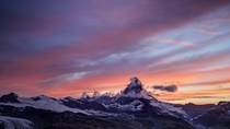 Brilliant Sunset Over the Matterhorn in Summer