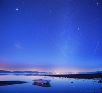 Brilliant winter stars and a boat named Hercules on the North Shore of Lake Tahoe last night  x-post from rskyporn