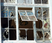 Broken Window of an abandoned building on Mare Island in Vallejo CA