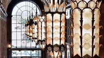 Bronze and glass light fixures in the Fisher Building Detroit MI