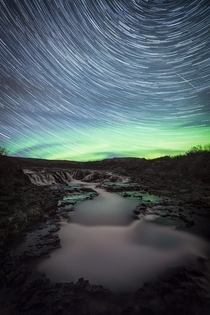 Bruarfoss Iceland topped by Star-trails and Aurora Borealis