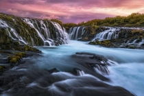 Bruarfoss my favorite waterfall in Iceland Definitely one of the more vibrant sunrises Ive experienced it took three hikes before the right conditions presented themselves In this location the best compositions usually require careful rock balancing acrob