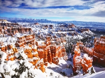Bryce Canyon in the December snow USA