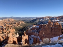 Bryce Canyon National Park with a view of Navajo Mountain way back in the distance Late December