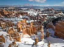 Bryce Canyon viewed from Sunset Point this past weekend after a snowfall Utah OC
