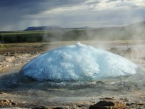Bubble about to burst - Strokkur in Iceland  -picture series in comments