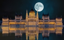 Budapest-Hungary The Parliament Building lit by a full-moon