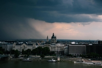 Budapest just as a rainstorm hits