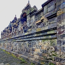 Buddhist stories sculpted along walls of Borobodur cultural site Java