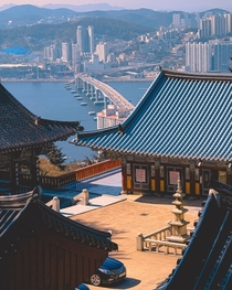 Buddhist temple on a mountain overlooking the city Busan South Korea
