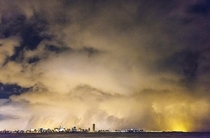 Buffalos Skyline at Night taken from Fort Erie during Snowstorm Knife