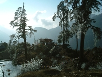 Building in the Foothills of the Himalayas Gantok Sikkim India  Cliff-