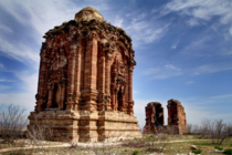 Built in the th century AD Malot Hindu temple fort in Pakistan has the synthesis of Kashmiri and Greek architecture Made of coarse sandstone of various shades of red and yellow its architecture is severely endangered
