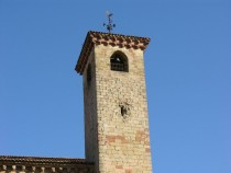 Bullet-ridden cathedral tower Sigenza Guadalajara Spain