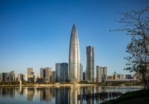 Bullet-shaped China Resources Headquarters skyscraper in Shenzhen is also known as Spring Bamboo