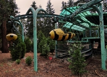 Bumble-bee ride at Santas village in SoCal previous to the parks restoration OC x