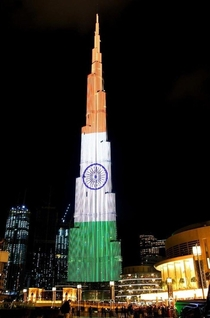 Burj Khalifa Dubai illuminated in Indian Tricolour to mark st Indian Republic Day
