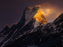 Burning Peak- Fish Tail Mountain Nepal- By Osamh Alshaalan