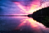 Burning sunset at Karelian lake Glubokoe vintage filmscan Russia