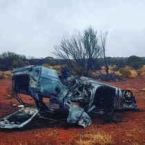 Burnt out car Outback Australia NT
