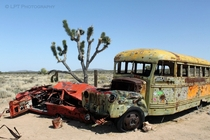 Bus and car wreck in the Mojave