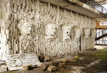Busts of political and cultural figures in an abandoned Soviet resort somewhere deep in the Armenian forest