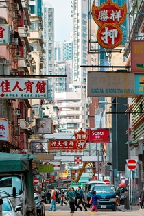 Busy Street in Mong Kok Hong Kong