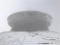 Buzludzha Bulgaria very foggy and windy and cold Iphone closed in  minutes so I dont have better photos