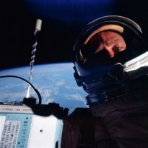 Buzz Aldren takes a self portrait during the flight of Gemini