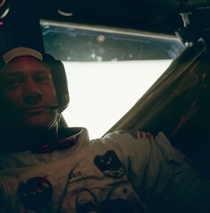 Buzz Aldrin back inside the Lunar Module after his Moonwalk with Neil Armstrong July