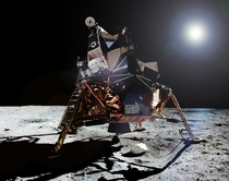 Buzz Aldrin climbing out of Apollo  Lunar Module Eagle on to the ladder to become the second person to walk on the Moon