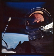 Buzz Aldrin in the first ever space selfie during an EVA on the Gemini  mission in