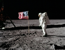 Buzz Aldrin standing on the surface of the Moon - Sunday July   -