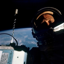 Buzz Aldrin taking a selfie during the Gemini  EVA in