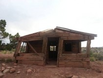 Cabin made from railroad ties in Moab UT