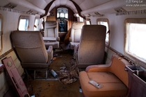 Cabin of an abandoned private jet