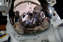 Cakeday sharing of my favorite selfie ever taken in space by Jessica Meir Love the detailed patchwork and visible earth