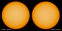 Calculating the solar rotation with the help of sunspots The sun in white light yesterday vs today