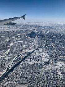 Calgary Alberta frozen over in the winter