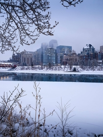 Calgary and the semi frozen Bow River