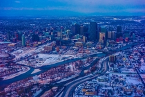 Calgary city in the snow