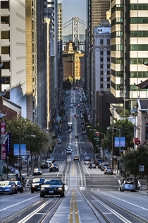 California Street looking east from the top of Nob Hill San Francisco CA
